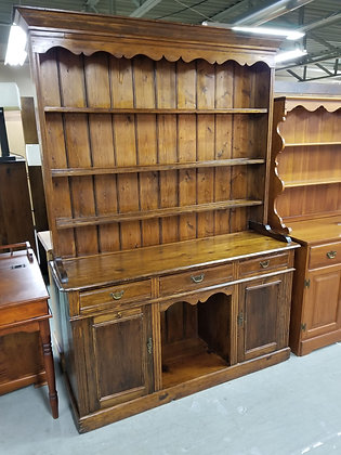 Antique Dark Pine Wood Hutch w/ Three Drawers + Three Shelves