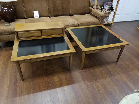Pair of Mid Century MCM Style Two Tone Wood End Tables Side Tables