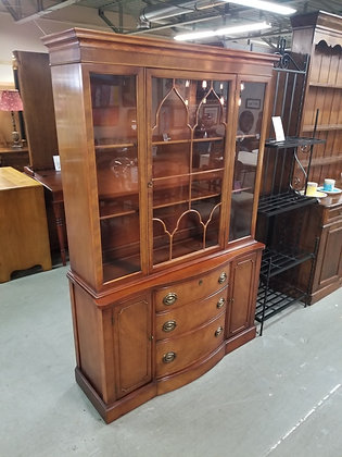 Glass Front Medium Tone Wood China Cabinet w/ Three Drawers