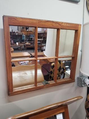 Six Panel Wood Window Repurposed Wall Mirror #M69