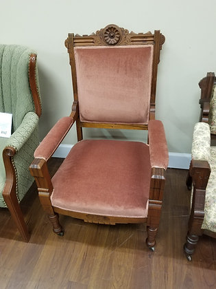 Eastlake Style Wood Accent Chair w/ Upholstered Seat + Back + Arms