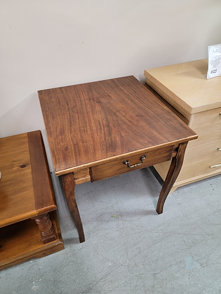 Solid Wood End Table with Faux Drawer
