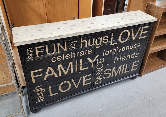 Eleven Drawer Dark Wood Sofa Table Console Table with Words On Face