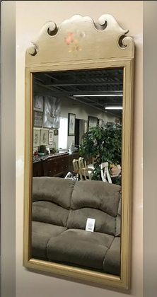 Tall Wall Mirror with Wood Frame & Floral Design #M27