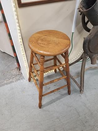 Oak Wood Bar Stool w/ Carved Legs