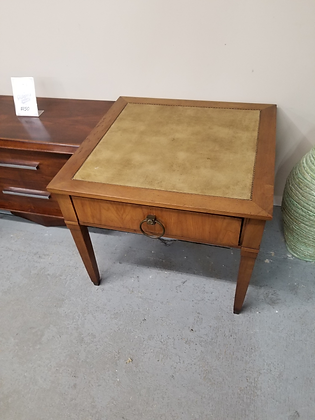 Single Drawer Leather Top Square Wood End Table Accent Table