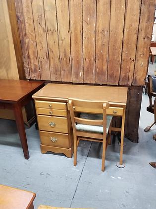 Four Drawer Light Wood Desk W/ Matching Chair