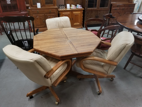 Octagon Oak Wood Dining Table with Three Upholstered Chairs On Wheels