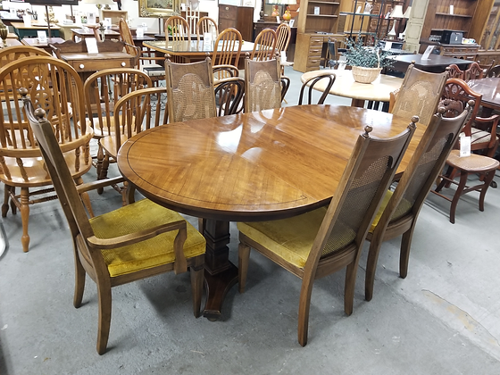 Medium Tone Wood Dining Table W/ Two Leaves & Six Cane Back Chairs