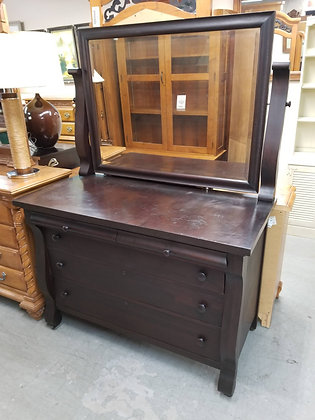 Five Drawer Antique Dark Wood Dresser w/ Attached Tilt Mirror