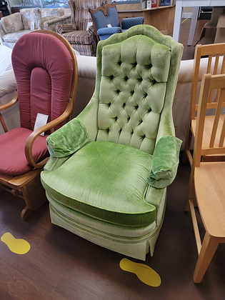 Green Upholstered Tufted Back Accent Chair
