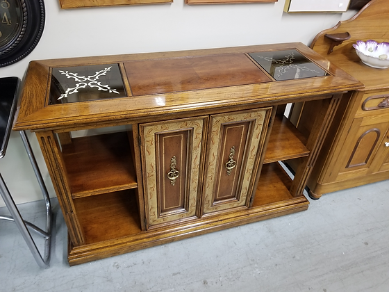 Two Door Wood Server Sideboard W/ Side Shelves & Two Glass Panel Top