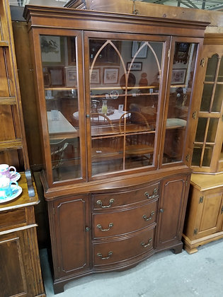 Glass Front Mahogany Wood China Cabinet w/ Curved Front