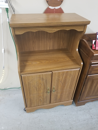 Two Door Wood Microwave / Kitchen Cart Stand On Wheels