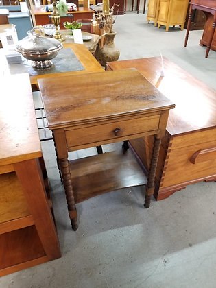 Single Drawer Two Tier Wood End Table Nightstand w/ Carved Legs