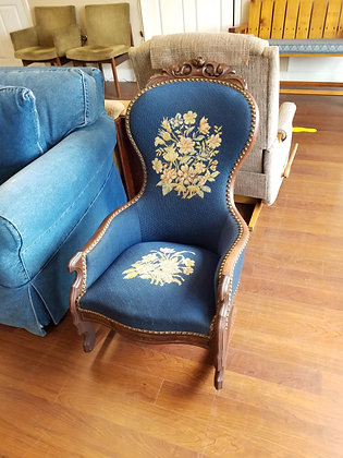 Antique Ornate Studded Wood Rocking Chair w/ Floral Upholstery