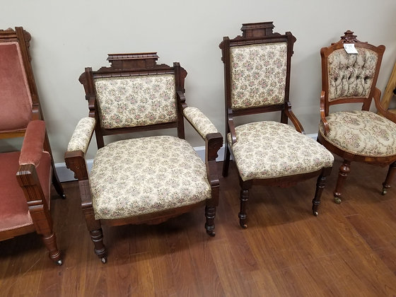 Pair of Dark Wood Eastlake Style Chairs w/ Floral Upholstery