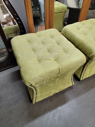Green Tufted Top Studded Upholstered Stool / Ottoman (1 Of 2)