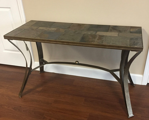Slate top sofa table console table w metal frame watchthetrailerfo