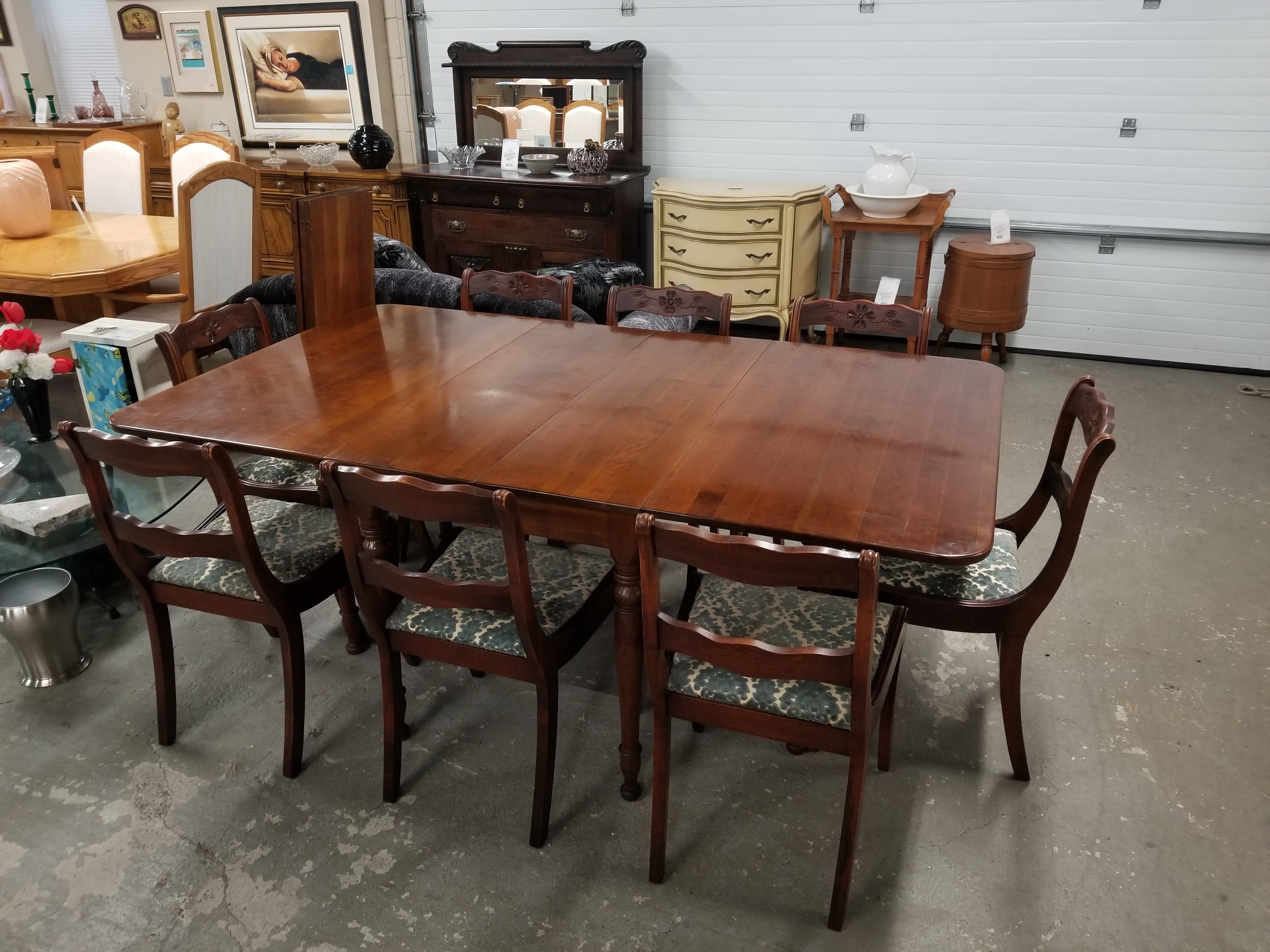 Large Cherry Wood Drop Leaf Dining Table W 8 Chairs Two Leaves