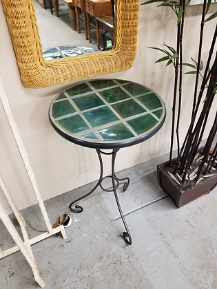 Round Tile Top Accent Table Stand W/ Metal Base