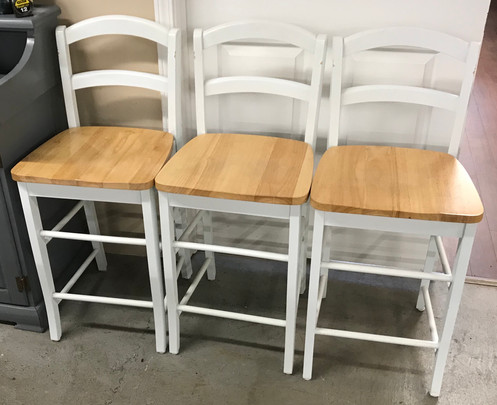 Awe Inspiring Set Of 3 Two Tone White Natural Wood Bar Counter Stools Uwap Interior Chair Design Uwaporg