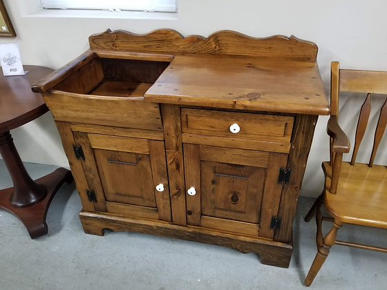 Single Drawer Country Pine Wood Dry Sink / Wash Stand w/ Two Doors