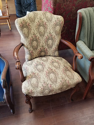 Ornate Wood Accent Chair w/ Floral Design Upholstery