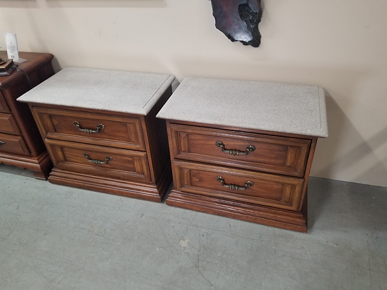 Matching Pair of Two Drawer Sandstone Top Wood End Tables Nightstands