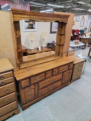 Six Drawer Wide Wood Dresser with Mirrored Hutch Top