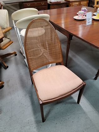 Mid Century MCM Style Cane Back Wood Accent Chair w/ Upholstered Seat