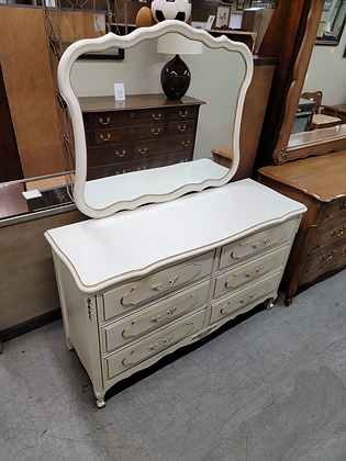 Six Drawer White French Provincial Wide Wood Dresser w/ Mirror
