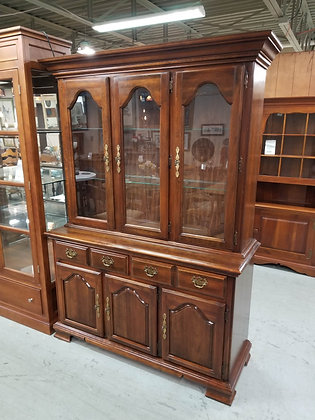 Kincaid Glass Front Cherry Wood China Cabinet Hutch w/ Two Drawers