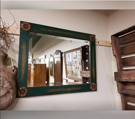 Rectangular Framed Wall Mirror w/ Sunflower Accents #M64