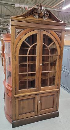 Beautiful Dark Wood Glass Front Corner Cabinet w/ Four Doors