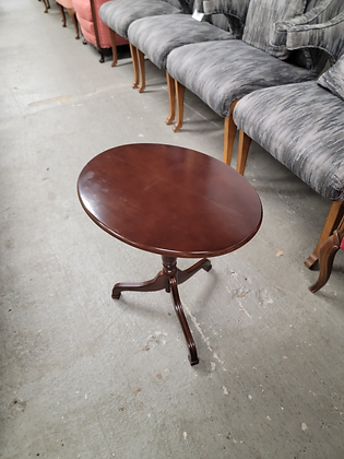 Oval Tilt Top Dark Mahogany Wood Accent Table Stand