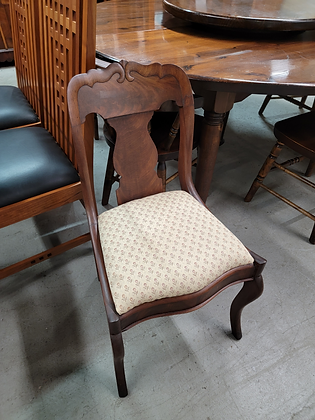 Dark Wood Accent Chair with Floral Upholstered Seat