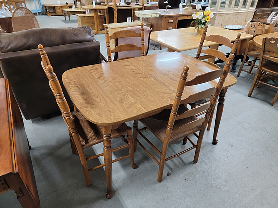 Ethan Allen Wood Dining Table with Four Ladderback Chairs