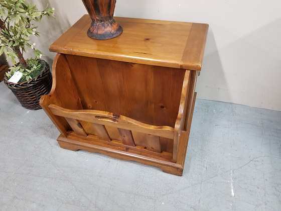Pine Wood End Table with Two Doors & Magazine Rack