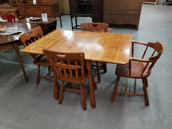 Temple Stuart Drop Leaf Wood Dining Table w/ Four Chairs