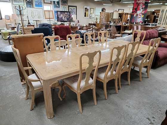 Large Wood Dining Table with Ten Chairs & Three Leaves by Drexel