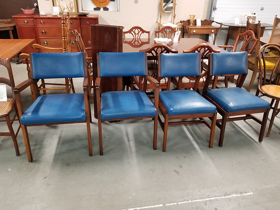 Set Of Four Mid Century Mcm Style Blue Upholstered Wood Dining Chairs