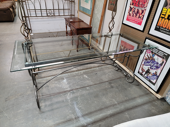 Long Glass Top Dining Table / Desk with Metal Base