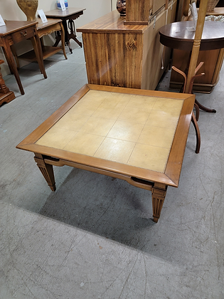 Square Faux Tile Top Wood Coffee Table