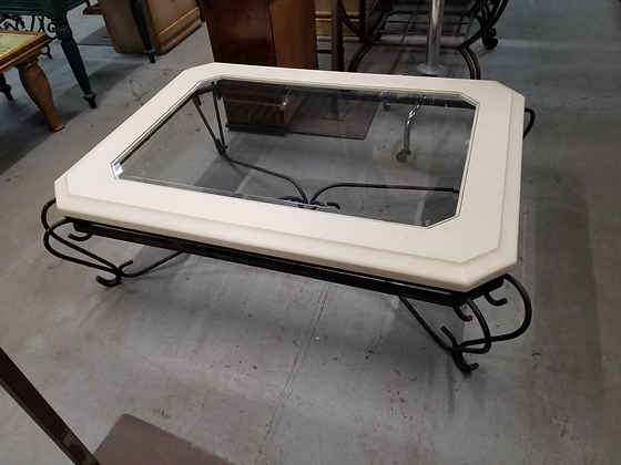 Large Glass Top Coffee Table w/ Metal Frame Base