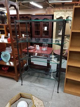 Four Tier Tall Dark Metal Frame Shelf w/ Glass Shelves