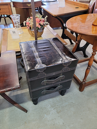 Small Two Drawer Leather End Table / Nightstand