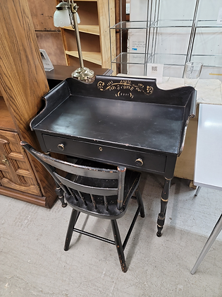 Single Drawer Black Wood Desk with Matching Chair