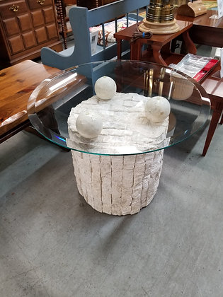 Round Glass Top End Table w/ Abstract Faux Stone Base