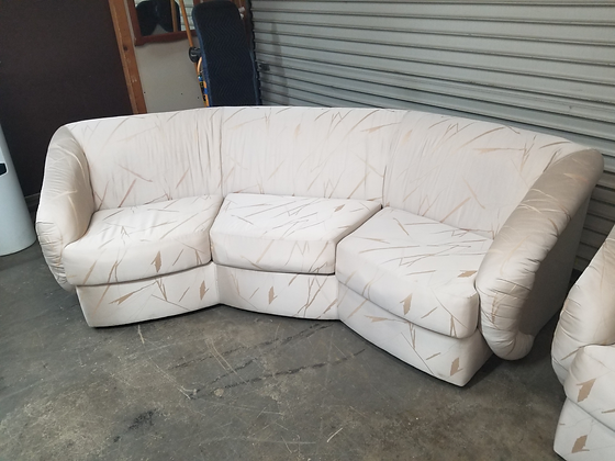 Curved White Upholstered Sofa Couch w/ Funky Design (2 Of 2)
